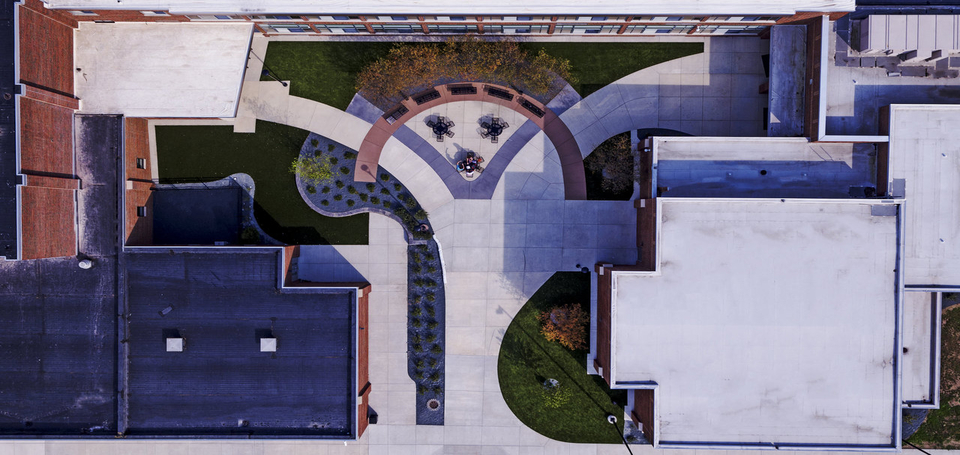 Aerial view of new West Side Courtyard showing the V, image is from Frederick Construction of Vicksburg